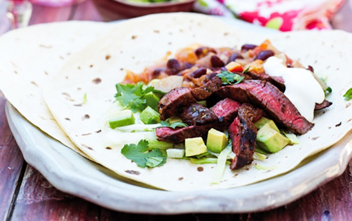 Mexican steak fajitas with chilli