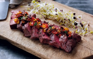 flat iron steak with pepper relish
